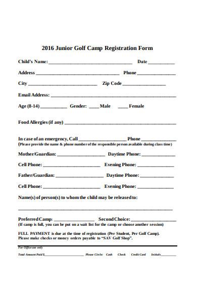junior golf camp registration form