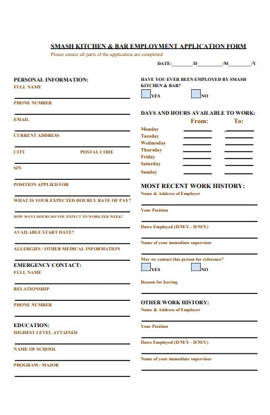 kitchen bar employment form