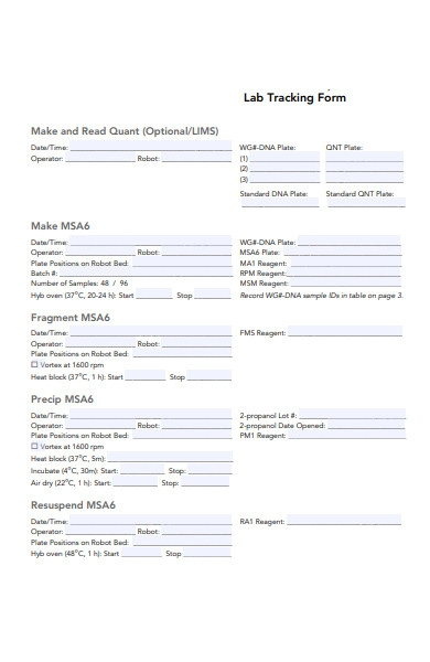 lab tracking forms