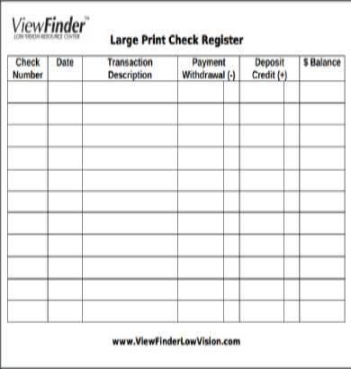 large print checkbook register form