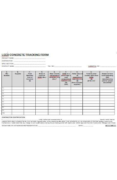 lead concrete tracking forms