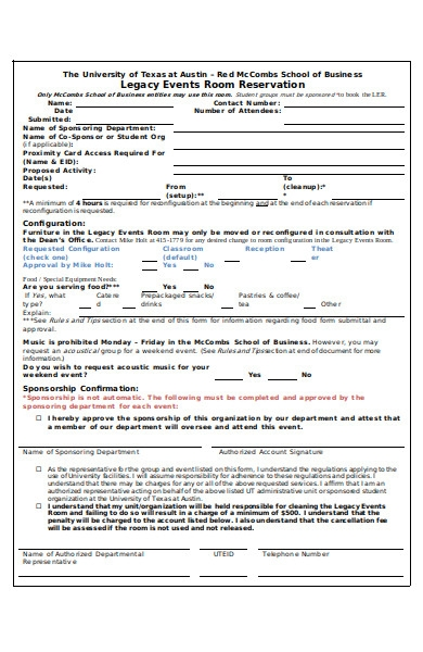legacy event reservation form