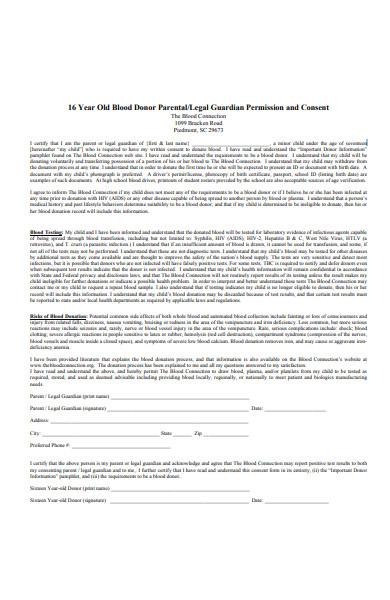 legal guardian permission consent form