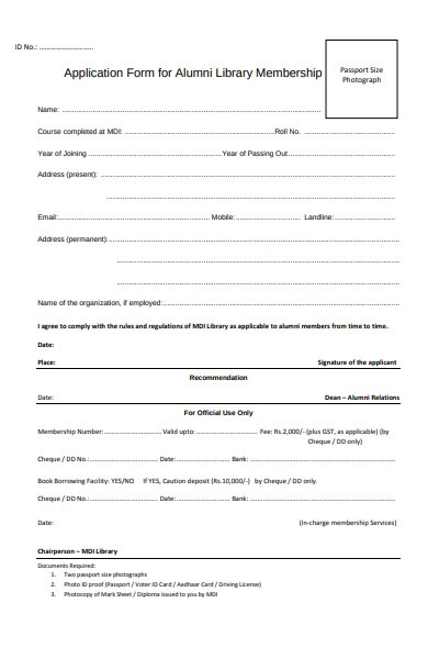 library membership application form