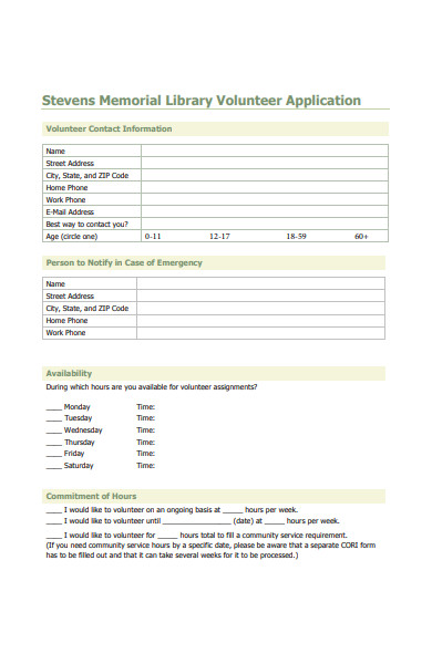 library volunteer application form