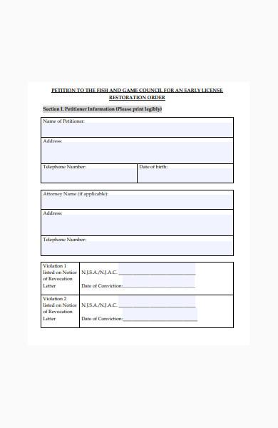 license restoration order petition form