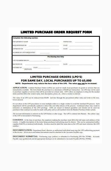 limited purchase order form