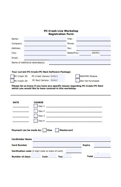 live workshop registration form