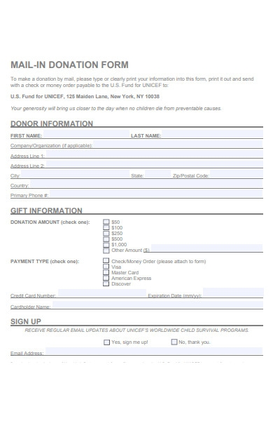 mail in donation form