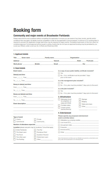major events booking form