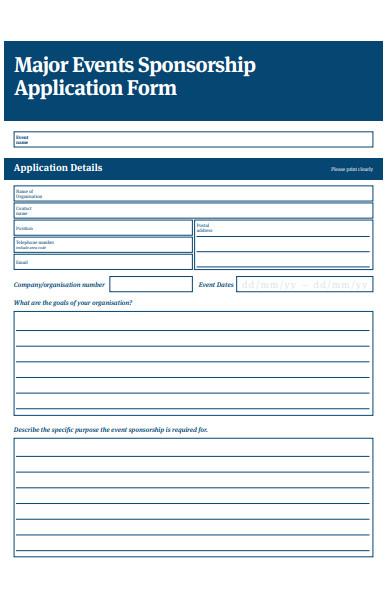 major events sponsorship application form