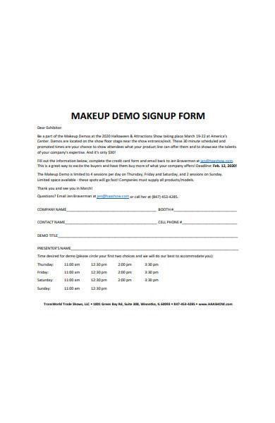 makeup demo signup form
