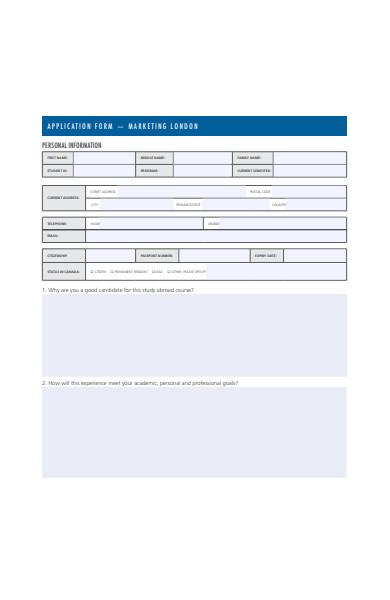 marketing application form