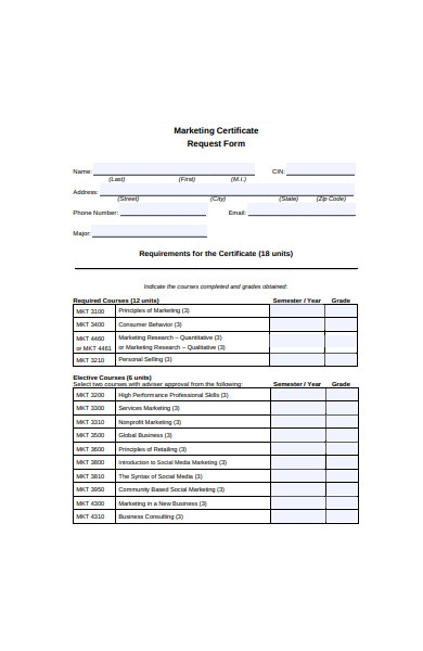 marketing certificate request form