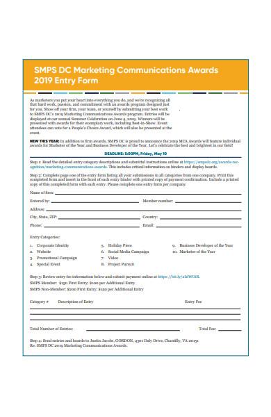 marketing communications awards entry form