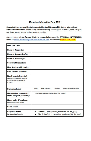 marketing information form template