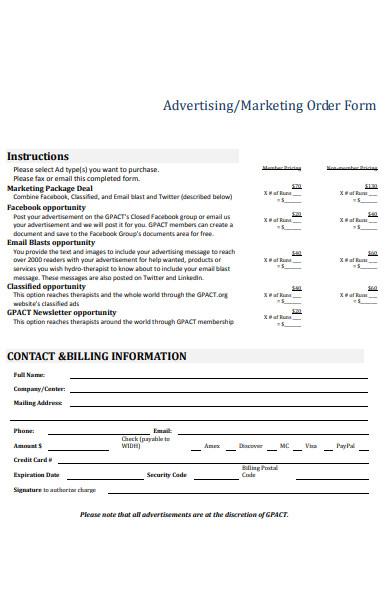 marketing order form