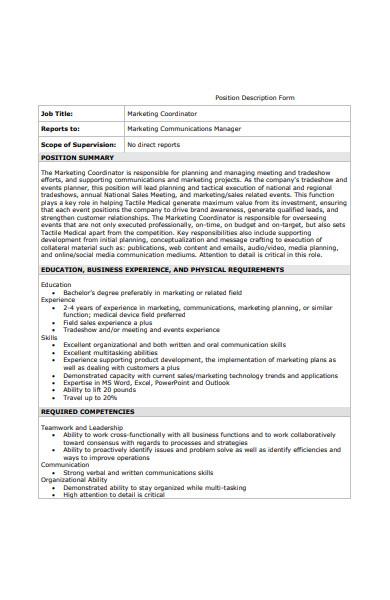 marketing position description form
