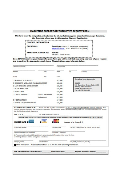 marketing support opportunities request form