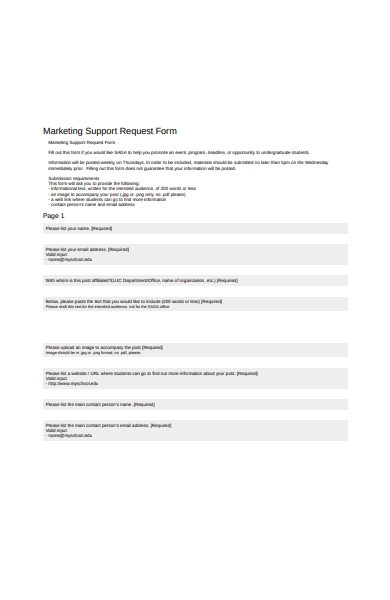 marketing support request form
