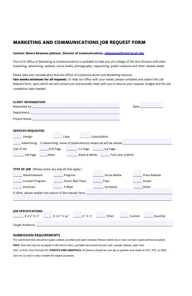 marketing and communications job request form