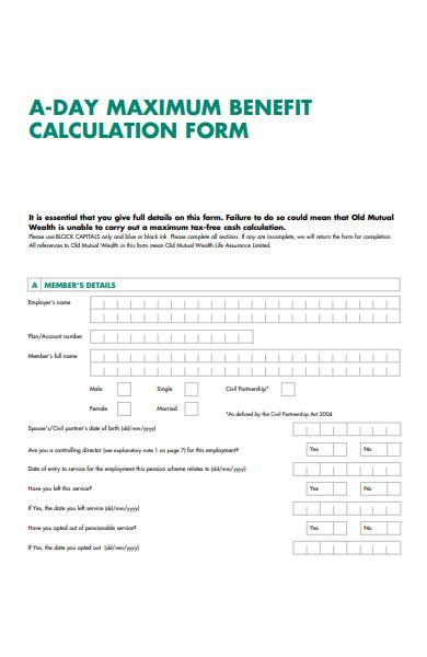 maximum benefit calculation form
