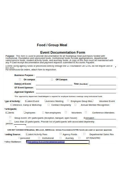 meal business form