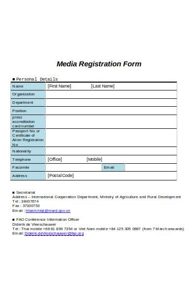 media registration form