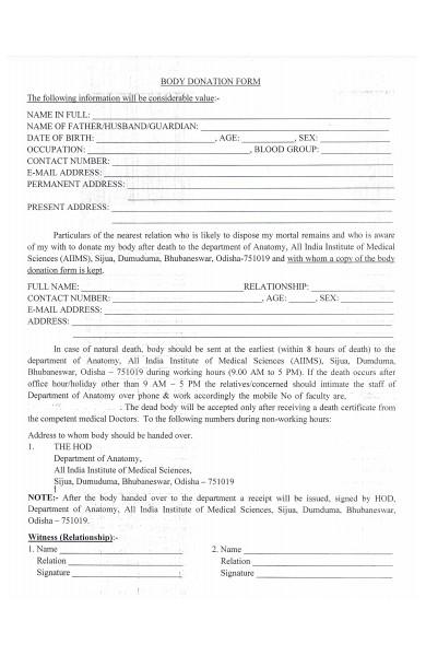 medical donation form