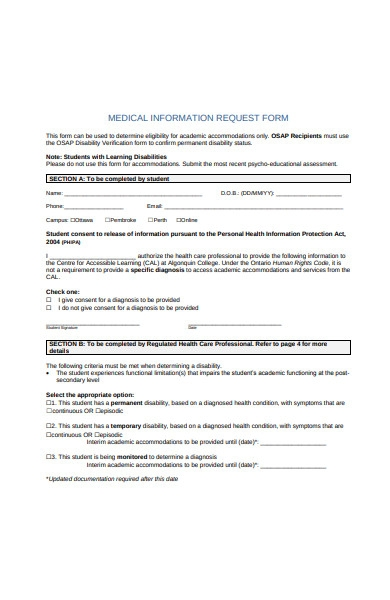 medical information request form template