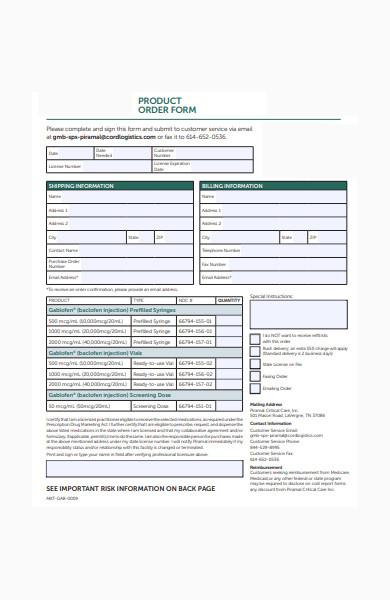 medical product order form