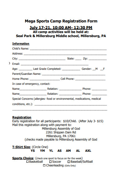 mega sports camp registration form
