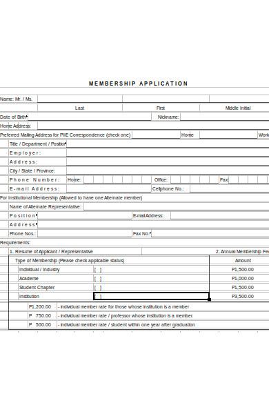 membership checklist form