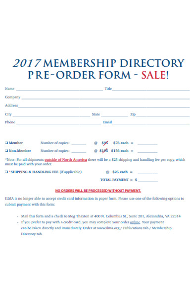 membership directory preorder form