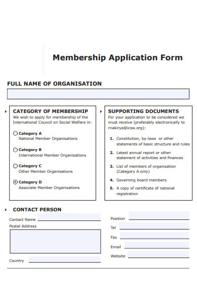 membership organisation application form