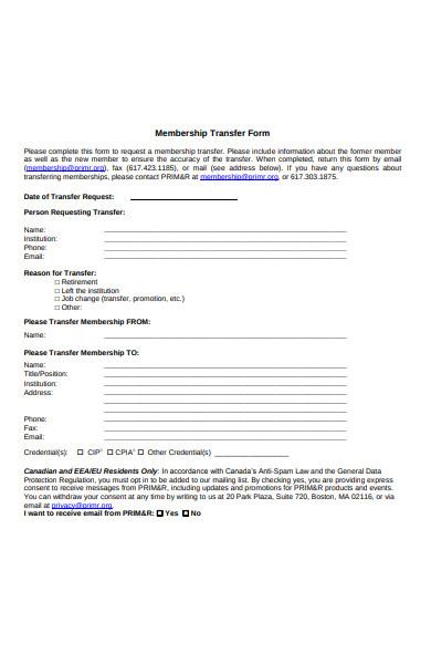 membership transfer form