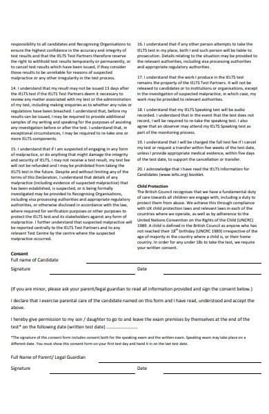 minor candidate consent form