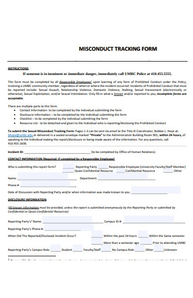 misconduct tracking forms