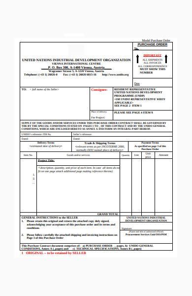 model purchase order form
