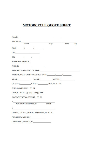 motorcycle quote sheet form