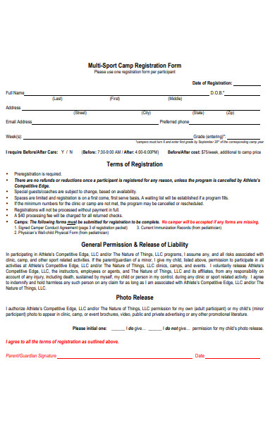 multi sports camp registration form