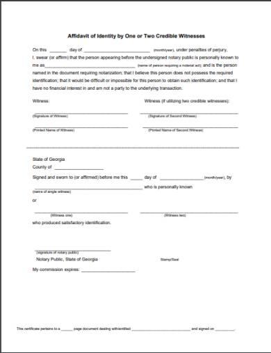 multiple witness testimonial affidavit form