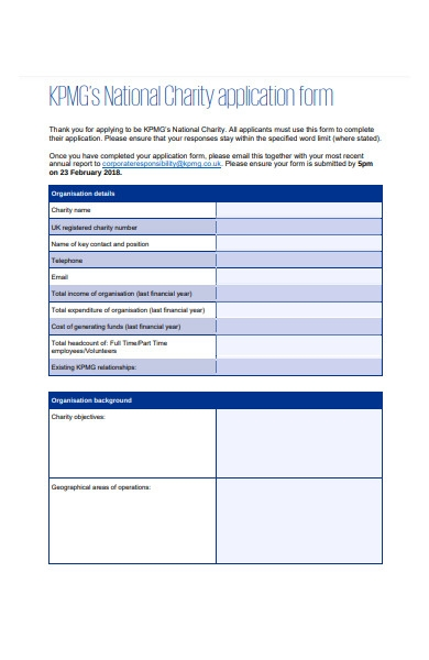 national charity form