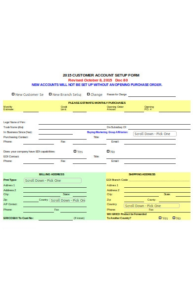 new customer product form