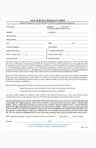new service request form