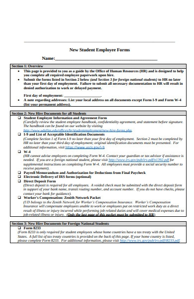 new student employee information form