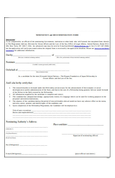 Free 50  Recommendation Forms In Pdf
