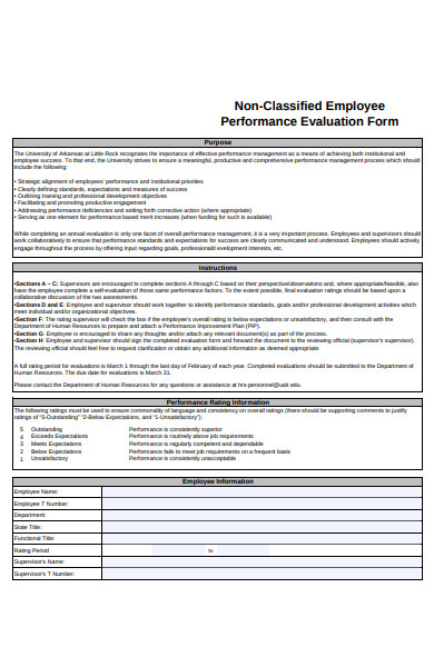 non classified employee performance evaluation form