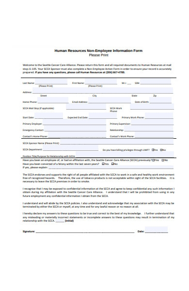 non employee information form