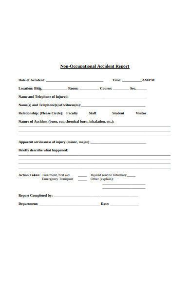 non occupational accident report form